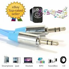 PRO 3.5mm Blue Jack Male to Male Stereo Audio Cable for iphone samsung galaxy PC