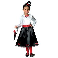 Girls Victorian Nanny Poppins Book Week Mary Kids Parrot Fancy Dress Up Costume