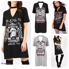 DONNA ROCK 'N' ROLL STAMPA COLLETTO T SHIRT SCOLLO A V MINI ABITO TAGLIE FORTI