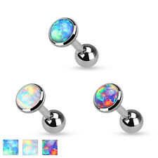Synth. Opale Ohr Helix Tragus Piercing 3/4/5 mm Plaque Reflet rose
