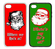 Santa Where's My Ho's At? Cartoon   Printed Rubber and Plastic Phone Cover Case