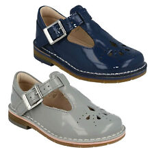 YARN WEAVE GIRLS CLARKS INFANT BUCKLE T BAR SMART GREY BLUE PATENT FIRST SHOES