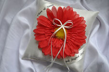 PERSONALISED wedding ring cushion/pillow with flower-20cm x 20cm