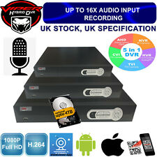 DVR Recorder HYBRID AHD IP Analogue TVI HD Cameras 1080p 4 8 16 Channel UK spec
