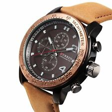 Fashion Men's Stainless Steel Leather Sport Military Analog Quartz Wrist Watch