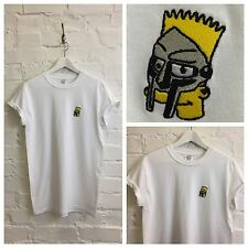 Actual Fact Bart Simpson x MF Doom Bestickt Hip Hop Herausragend Weiß T-Shirt