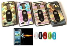 Designer Mobile Phone Back Cover Case for LG G3 + Tempered Glass + Watch
