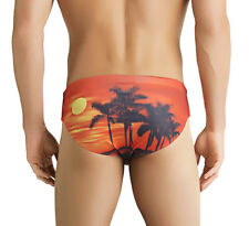 BIKINI HOT! SUNRISE /SUNSET TROPICAL MENS SWIM BRIEF! ALL SIZES,