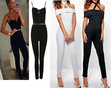 Womens Ladies Choker Neck Strappy Bardot Off Shoulder Playsuit Jumpsuit UK 6-16