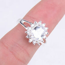 Hot Fashion 925 Sterling Silver Clear Crystal Inlay Ring Size 7 & 8 Jewelry H418