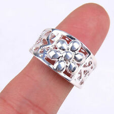 Ladies Flower Shaped Hollow Out Chic 925Sterling Silver Ring Size 7 Jewelry H852