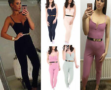 Womens Ladies Celeb Inspired Gold Belted Strappy All In One Jumpsuit Playsuit