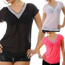 Sexy Miss Damen Chiffon V Top Bluse transparent S 34 M 36 L 38 silber Diamant