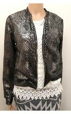 New with Tags C&A Black and Silver Metallic Crochet Jacket Size 8 12 14
