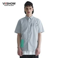 Viishow New Fashion Men Striped Dress Shirt short Sleeve Turn-down Collar Regula