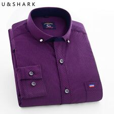 Brand U- shark business casual shirt unique collar design men's classic fashion