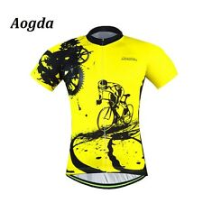 Yellow Mens Cycling Team Jersey Clothing Tops Short Sleeve Bicycle Bike Clothes