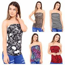 06d12facff WOMENS LADIES PRINT PATTERN STRAPLESS RUCHED BOOBTUBE BANDEAU TOP PLUS SIZE  8-22