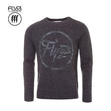 FLY53 MENS DESIGNER DARK GREY MARL BALOK WOOL MIX SWEATER RRP £45 SAVE 75% OFF