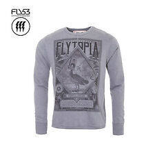 FLY53 MENS SLATE GREY BRONN CREW SWEAT SWEATSHIRT FLYTOPIA RRP £45 SAVE 75% OFF