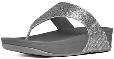 FitFlop 639-011 Women's Silver Lulu Superglitz Thong Sandals - New With Box