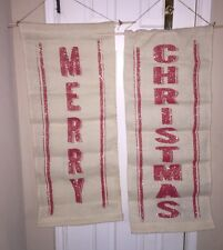 MERRY CHRISTMAS PRIMITIVE BURLAP Glitter Sparkling Banner Holiday Wall Hanging