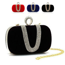 Rhinestone Knuckle Ring Clutch Handbag Bridal Evening Shoulder Chain Bag Purse