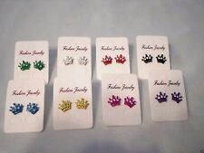womens or girls fashion small crown rhinestone stud earrings 7 colors