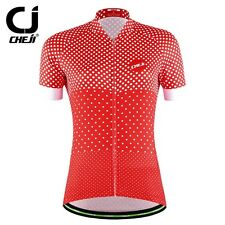 CHEJI Red Women Cycling Jersey Top Summer Roupa Ciclismo Quick Dry Outdoor Sport