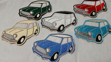 Mini Cooper (classic car) embroidered patches various colours Iron or sew on