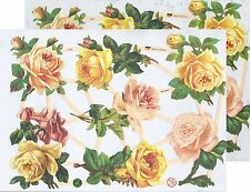 Chromo EF Découpis Fleur Roses 7346 Embossed Illustrations Yellow Roses