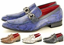 Mens Leather Lined Snake Skin Pattern Pointed Winkle Pickers Patent Shiny Shoes