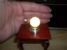 SILVER GLOBE CEILING LAMP - LED BATTERY OPERATED  - DOLL HOUSE MINIATURE