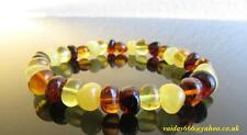 ELASTICATED  BALTIC AMBER BRACELET FOR ADULT & TEENS COLOUR MIXED