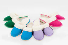 Womens/Ladies handmade Suede Leather slippers with sheep wool UK 3,4,5,6,7,8