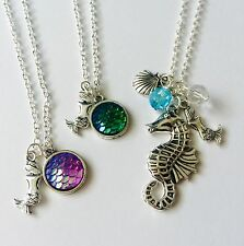 Mermaid Necklace Charm Fish Scale Pendant SeaHorse Sea Shell Pearl Fancy Dress