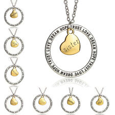 Hot Sale Family Necklace Pendant Fortune Gift Letter Word DREAM LOVE HOPE TRUST