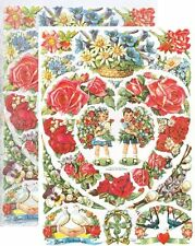 Chromo EF Découpis Enfants Roses 7023 Embossed Illustrations Children & Flowers
