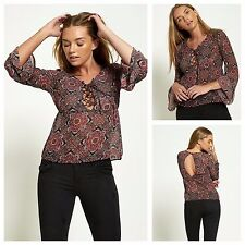 WOMENS LADIES CASUAL LACE UP FLORAL PRINT LONG SLEEVE CHIFFON BLOUSE SUMMER TOP