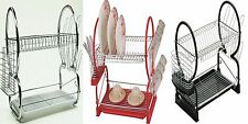 2 Tier Stainless Steel Dish Plate Cup Rack Kitchen Organizer Drainer Holder Tray