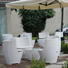 Set Wicker Drop, 2 poltrone in wicker  + tavolino con piano in vetro