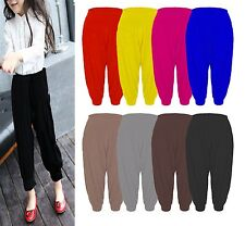 GIRLS ALIBABA LEGGINGS KIDS ELASTICATED STRETCH FULL LENGTH PLAIN HAREM TROUSERS