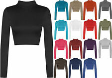 New Womens Ladies Turtle Neck Crop Top Long Sleeve Plain Polo Shirt Top 08-14