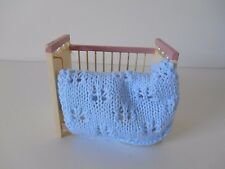 HAND KNIT MINIATURE DOLLHOUSE DOLL BABY BLANKET BLUE 1/12 SCALE