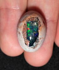 19.3 ct Precious Mexican Jelly Opal in Rhyolite Cabochon - Incredibly Colorful
