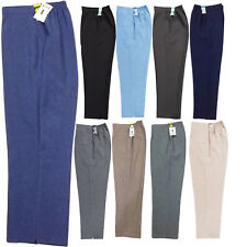 WOMENS LADIES HALF ELASTICATED WAIST TROUSERS POCKETS PANTS PLUS SIZE 8-24