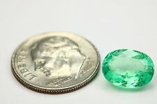 2.54Cts Bright Green Loose Natural Colombian Emerald Oval Shape From Muzo