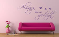 Always Kiss Me Goodnight Wall art sticker, Vinyl Decal. Home, Wall Decor. Love