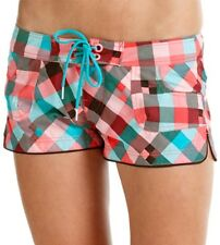 ONeill Checkmaid Shorty Short Board Shorts in Red AOP