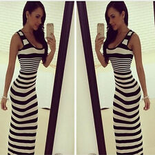 Fashion Womens Striped Sexy Sleeveless Bodycon Dress Boho Beach Long Maxi Dress